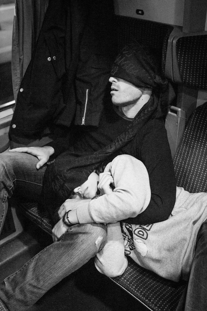 sleeping people in a CFR train