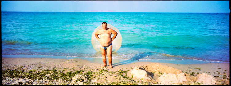 man on the beach of krapet bulgaria, saint krapetz