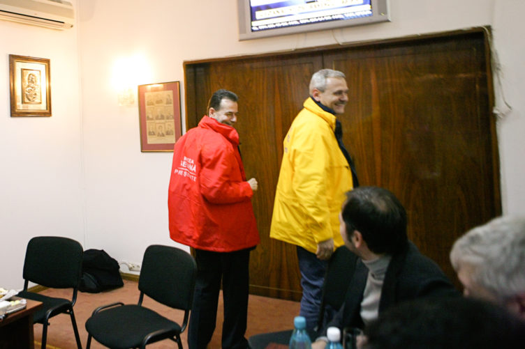 ludovic orban & liviu dragnea, after presidential election, 2005.